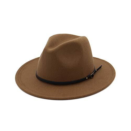 Vim Tree Women's Classic Wide Brim Fedora Hat with Belt Buckle Felt Panama Hat Khaki -