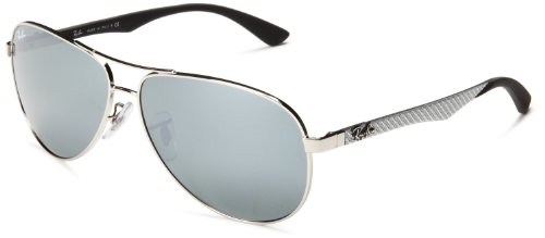 Ray-Ban CARBON FIBRE - SILVER Frame CRYSTAL GREY MIRROR Lenses 61mm - Sunglasses Wrap Ban Around Ray