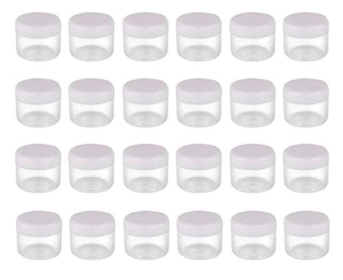 25PCS 15G/ML 0.17oz Clear Empty Refill Plastic Cosmetic Sample Packing Bottle Jar Pots Eyeshadow Makeup Eye Cream Lotion Loose Powder Holder Storage Container for Nails Gems Beads Jewelry(White ()