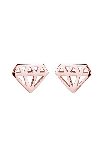 Elli - Boucles d'oreilles - Clous et puces Forme Diamant Plaqué Or Rose - Argent 925/1000 - 305630815
