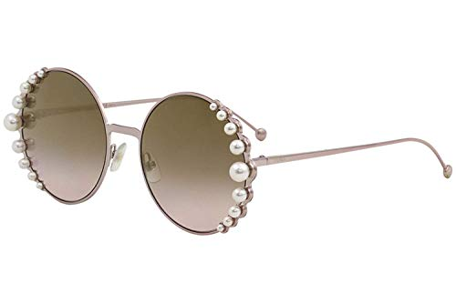 Fendi Women's Round Pearl Frame Sunglasses, Pink/Brown Gradient, One Size from Fendi