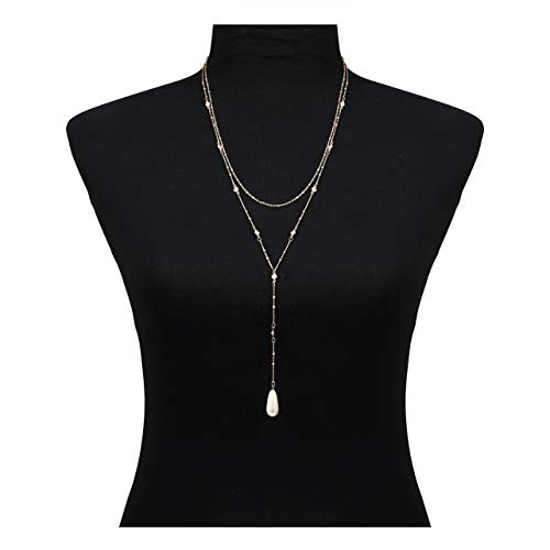 (Seni Layered Y Pearl Lariat Necklace Rhinestone Crystal Choker Necklace Beaded Linear Bar Pendant Necklace (Gold))