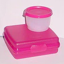 Tupperware Pink Sandwich Keeper and Snack Cup Lunch Set