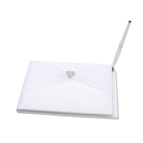 Darice VL414GB, Guest Book with Pen Rhinestone Heart Sheer, White
