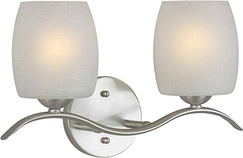 (Forte Lighting 5251-02-55 Transitional 2-Light Vanity Fixture with White Linen Glass, Brushed Nickel Finish)
