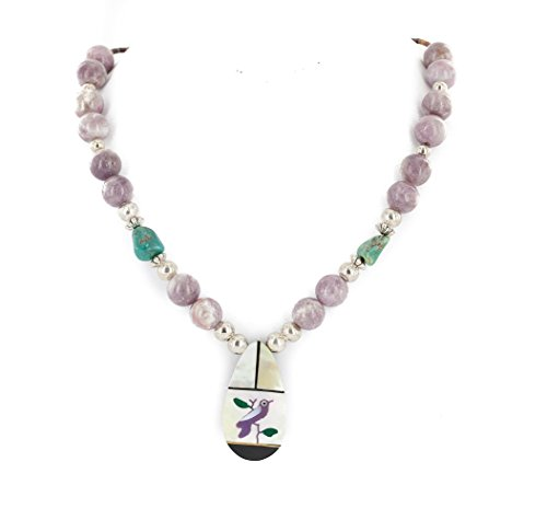 Certified Authentic Inlay Bird Navajo .925 Sterling Silver Natural Turquoise Agate Native American Necklace