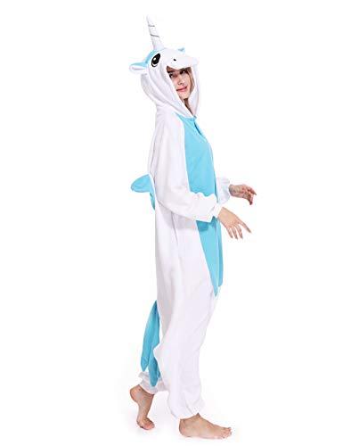 Unicorn One-Piece Pajamas Animal Cosplay Costume Halloween Sleepwear Unisex for Adult -