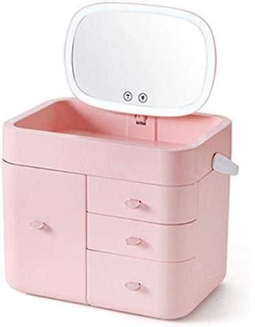 大容量 コスメBOX メイクボックス 鏡付き メイク収納ボックス 多層引き出し収納ボックス 10倍拡大鏡 LED化粧鏡 360度回転スタンドミラー 付きLEDミラー (ピンク)