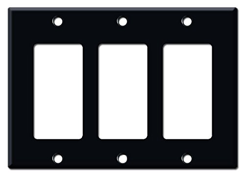 Matte Black Electrical Metal Wall Plate Covers Switch Plates & Outlet Covers (Triple Rocker)