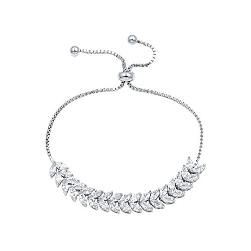 WeimanJewelry Cubic Zirconia Crystal Double Layer Marquise Shaped CZ Bridal Adjustable Chain Bracelet for Women Wedding (White Gold) ()
