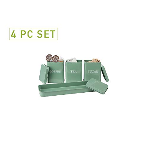 Mind Reader 4 Piece Coffee, Tea, Sugar Storage Kitchen Canister Set with Holding Tray, Green - Green 3 Piece Canister