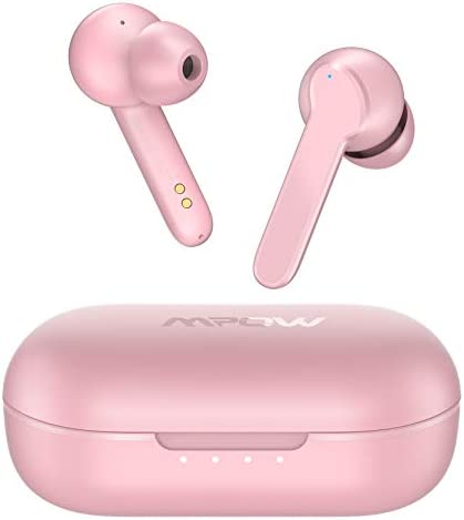 Wireless Earbuds, Mpow MBits S True Bluetooth Earbuds in Ear w/Mic CVC8.0 Noise Cancelling Earphones, Bluetooth 5.0 Headphones Sports, Deep Bass/IPX8 Waterproof/35H Playtime/Touch Control/3 Mode,Pink