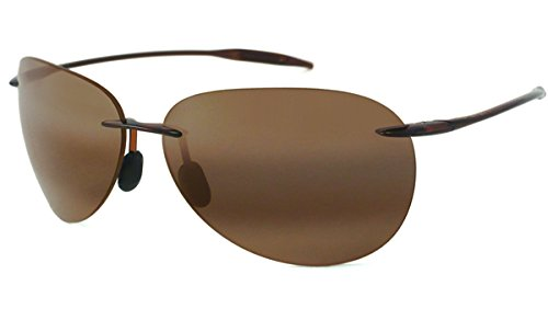 Maui Jim Sugar Beach Rimless Rectangular Polarized Sunglasses,Rootbeer Frame/HCL Bronze Lens,one - Sunglasses Jim