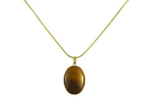 24K Gold Plated Snake Chain 42cm Oval Pendant Necklace 25mm 18mm Tortoise Brown Czech Glass Stone Handmade BohemStyle