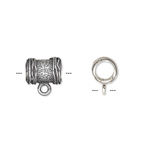 Bead antique silver-plated brass 10x7.5mm textured round tube with ribbed ends and loop 5mm hole