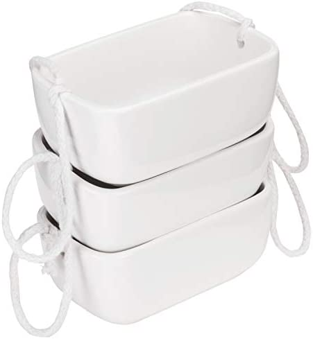 MyGift 3-Pot White Rope Hanging Planter Set with 3 Rectangular Ceramic Containers