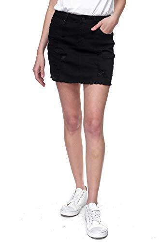 Urban Look Women's Distressed Denim Mini Skirts (Medium, B Black) (Denim Mini Black Skirt)