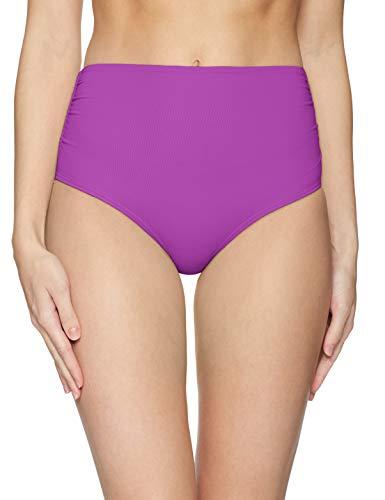 Anne Cole Women's High Waist to Fold Over Shirred Bikini Bottom Swimsuit, New Purple, X-Large