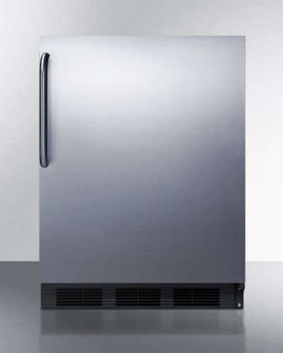 """Summit AL652BBISSTB 24"""" ADA Compliant Compact Refrigerator with 5.1 Cu. Ft. Capacity Cycle Defrost Adjustable Glass Shelves Dual Evaporator Interior Light and Professional Towel Bar"""