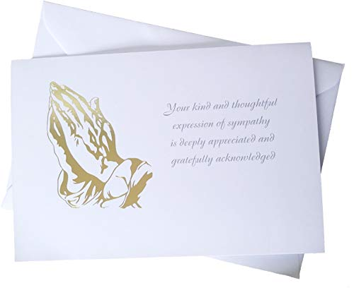 (Funeral Sympathy Acknowledgements - Set of 25 Thank You Cards - Includes Envelopes- Gold Foil Stamped
