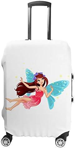 スーツケースカバー トラベルケース 荷物カバー 弾性素材 傷を防ぐ ほこりや汚れを防ぐ 個性 出張 男性と女性空飛ぶ妖精