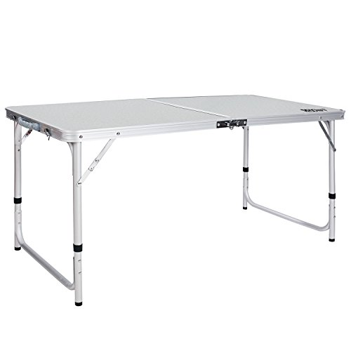 REDCAMP Aluminum Folding Table 2 3 4 6 Foot, Adjustable Height Portable Camping Table, Sturdy Lightweight 24 36 48 72 Camp Table