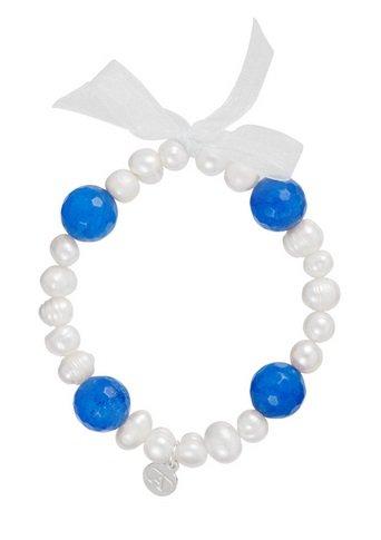Alexandra plata-Bracelet élastique de perles cultivées et Tourmaline Bleu avec ruban et charm Logo Alexandra Plata en argent de la loi 0925