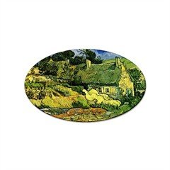 Thatched Cottages at Cordeville By Vincent Van Gogh Oval ()