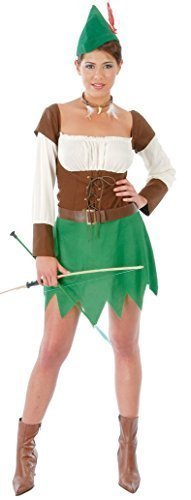 Ladies Medieval Archer Robin Hood Peter Pan TV Film Book Historical Fancy Dress Costume Outfit (UK 14-18) Green