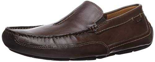 CLARKS Men's Ashmont Race Driving Style Loafer, Dark Brown Leather, 090 M US (Clarks Men Moccasin)