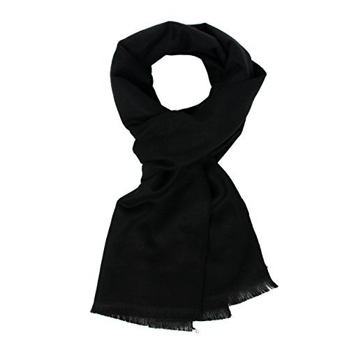 Long Cotton Scarf for Men - Warm Fringe Plaid Scarves With Luxurious Gift Box(Black)