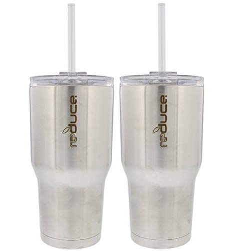 REDUCE COLD-1 Tumbler, 2 Pack Set - 30oz Stainless Steel Tumbler With Straw & Lid - Reduce Insulated Tumbler Keeps Drinks Hot & Cold, Ideal for Water & Tea - A Perfect Coffee Travel Mug For the Office -