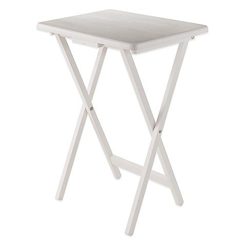 Solid Wood Folding Snack Table White