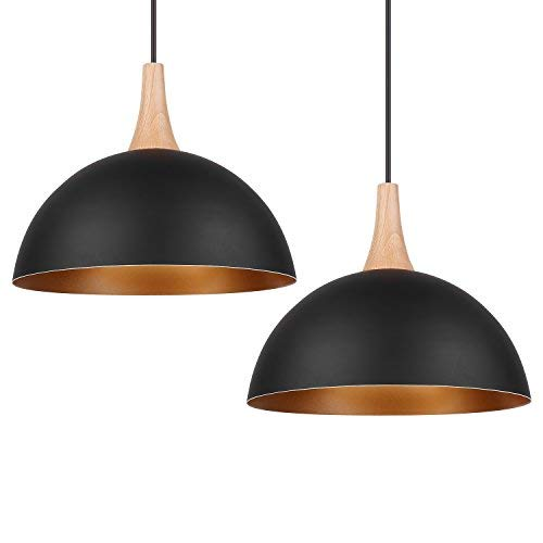 Restaurant Pendant Lighting - DECKEY Pendant Light Fixtures Ceiling Hanging Pendant Lights with Classic Vintage Industrial Metal Lampshade for Dining Room/Living Room/Restaurant - 2 Pack