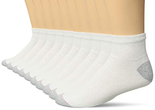 Hanes Ultimate Men's 10-Pack Ankle Socks, White, 10-13