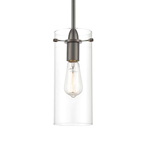Light Society Montreal Hanging Pendant Light, Modern Bronze with Clear Glass Shade, Industrial Modern Lighting Fixture (LS-C237-BZ-CL)
