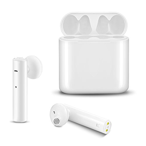 True Wireless Earbuds ICEtek Bluetooth In-Ear Headphones with Built-In Mic & Charging Case for iPhone iPad Android Phones Devices, White Stylish Sweat Proof for Sports (True Wireless Earbuds)