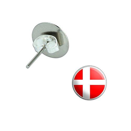 Denmark Danish Flag Novelty Silver Plated Stud - Denmark Silver