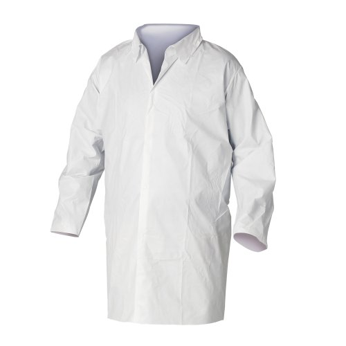 Nomex Lab Coats (Kimberly-Clark KleenGuard A20 Snap Front Frock with Elastic Wrist, 3X-Large, White (Pack of 30))