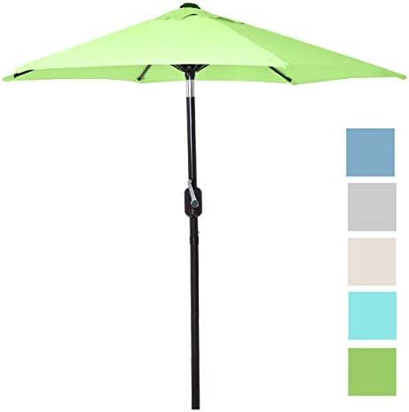 6 Ft Outdoor Patio Umbrella with Aluminum Pole, Easy Open Close Crank and Push Button Tilt Adjustment – Light Green Market Umbrellas