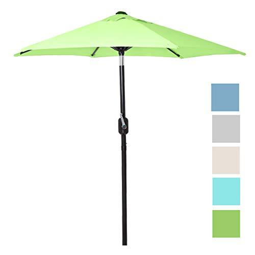 6 Ft Outdoor Patio Umbrella with Aluminum Pole, Easy Open/Close Crank and Push Button Tilt Adjustment – Light Green Market Umbrellas