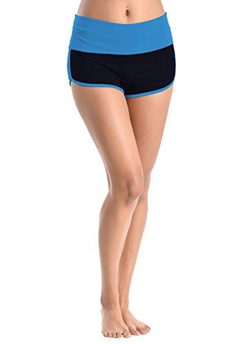 - Basico Women's Lady Cotton Spandex Fold Over Waist Yoga Short Pants (Large, Dolphin-Turquoise/NAVY)