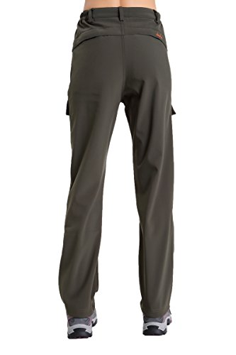 Clothin Women's Fleece Lined Soft Shell Cargo Pants, Insulated, Water and Wind Resistant