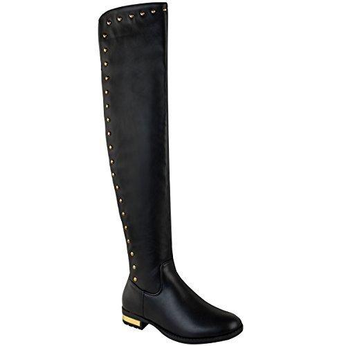 Encima Tachuela Elástico La Rodilla Botas Sobre Rodilla Talla Sintética Negro Thirsty Fashion de Equitación Bajo Mujer Piel Por Tacón 8PSqfwxnY