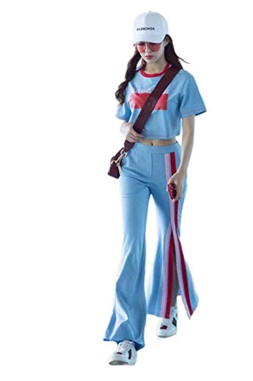 放映レキシコンマウントバンクsayahe 女性ロングパンツcolorblock基本コットンワイド脚スポーツトラックスーツ
