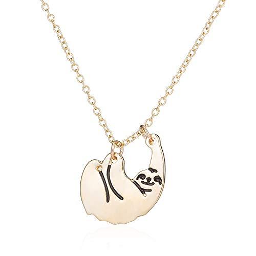 MUZHE Gold Silver Sloth Charm Necklace - Stylish Cute Animal Peandant Jewelry ()