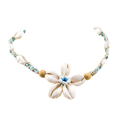 Hemp Choker Necklace with Cowrie and Fimo Flower Pendant Turquoise Glass and Light Blue Catseye Beads