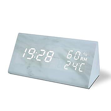 Bashley Despertador de mármol,Reloj Digital Reloj de mármol Imitacion con Pantalla de Temperatura y Humedad Control de Sonido Reloj de Escritorio para el ...