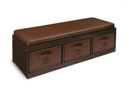 Badger Basket Kid's Storage Bench with Cushion and 3 Bins, Espresso ()