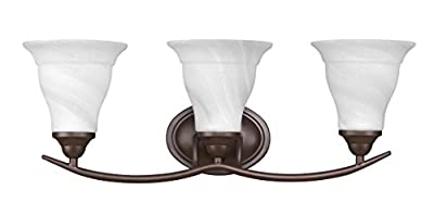 Chloe Lighting CH21013RB24-BL3 Transitional Orella, Transitional 3 Light Rubbed Bronze Bath Vanity Wall Fixture White Etched Glass, 23.5-Inch
